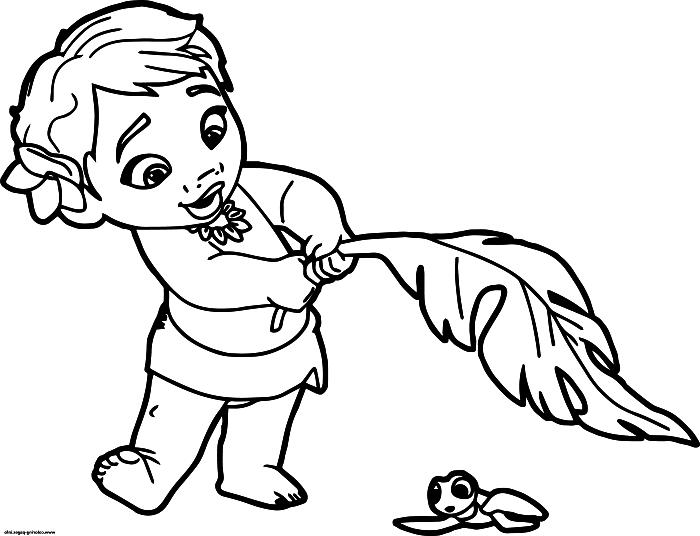 dessin de coloriage le bébé vaiana, activités de coloriage maternelle, dessin gratuit bébé vaiana à colorier
