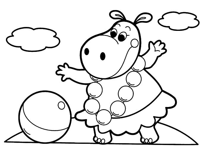 dessin gratuit pour coloriage enfant, dessin à colorier hippopotame jouant au ballon sur la plage, coloriage maternelle avec personnage amusant