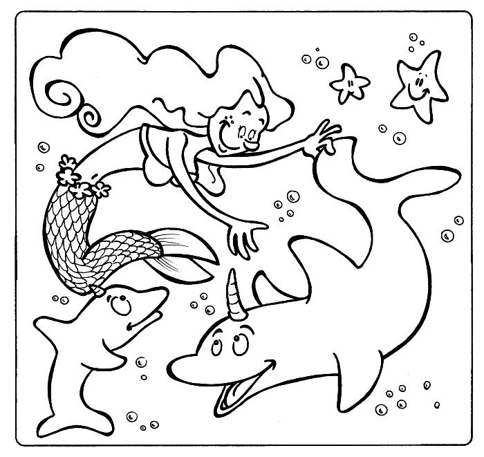 page à colorier gratuite, image a colorier gratuite pour coloriage enfant, dessin de coloriage sirène jouant avec dauphins