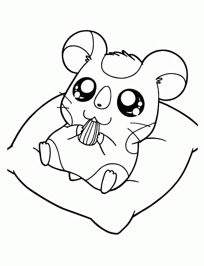 coloriage petit hamster kawaii, dessin kawaii gratuit à imprimer et à colorier, coloriage en ligne dessins kawaii