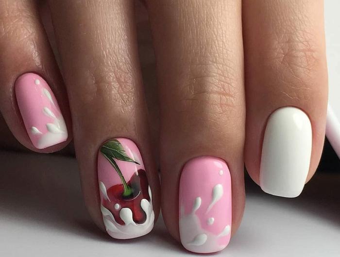 ongles carrés, éclaboussures blanches sur ongles roses, cerise, dessin sur ongle réaliste