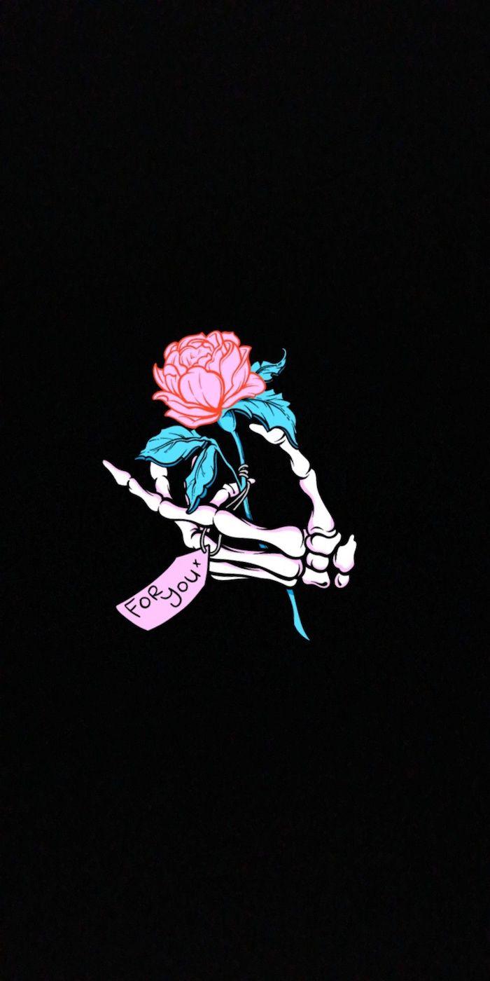 Squelette main avec rose pour toi, image swag wallpaper, photo pout fond d'écran