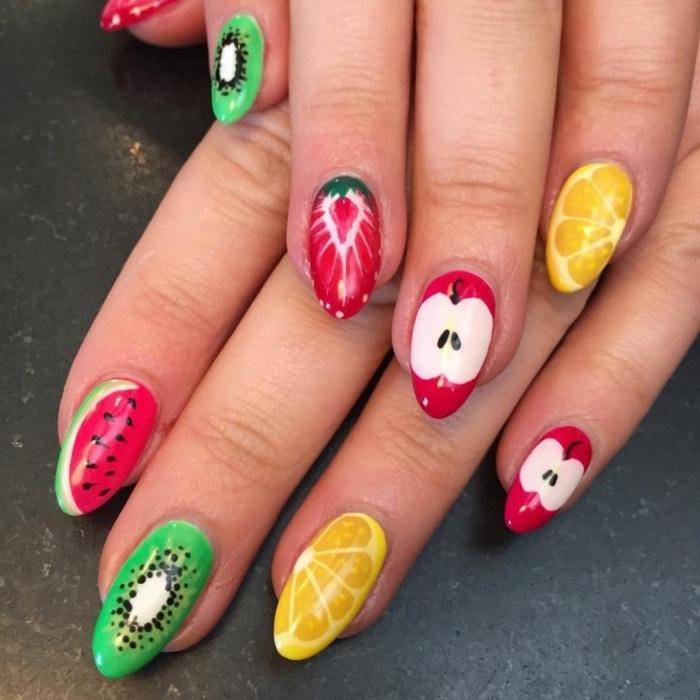 manucure fruitée, ongles décorés de fruits, idée nail art vitaminée, motifs de fruits sur les ongles