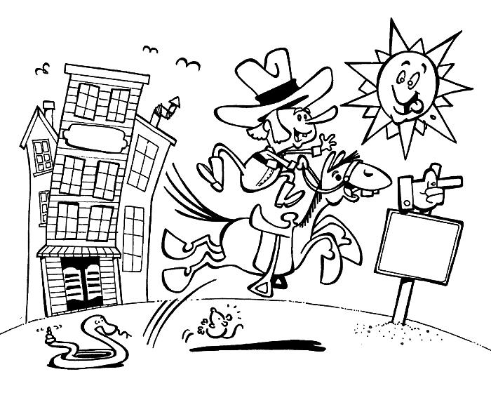 coloriage en ligne facile pour enfants, dessin à imprimer cowboy sur son cheval, coloriage l'ouest pour enfants