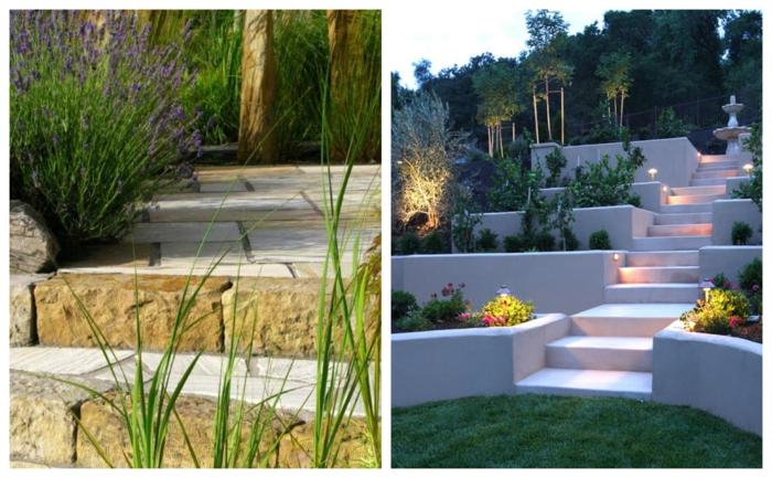 escaliers de jardin, escalier moderne, escalier traditionnel, pelouse verte, plantes architecturales