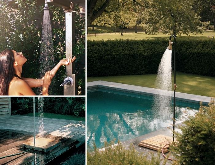 design extérieur moderne avec piscine et douche, modèle de douche solaire piscine en inox, idée douche mobile en bois et métal