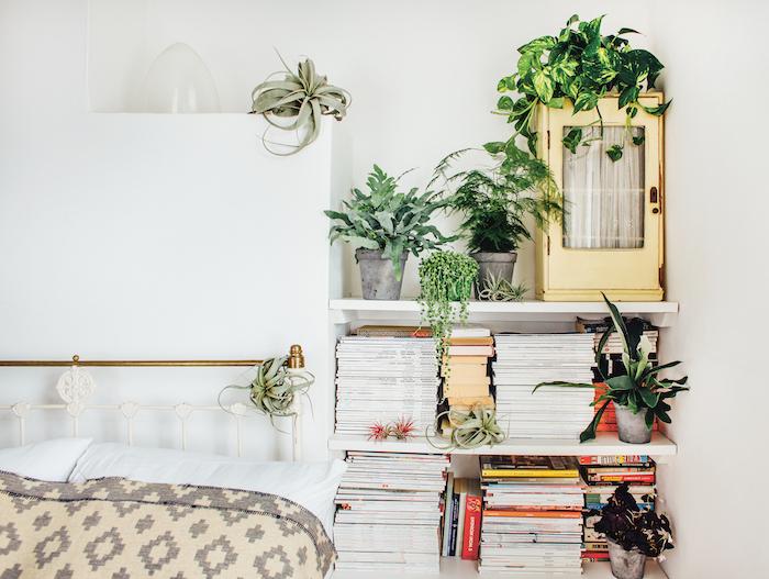 files de l air plantes d interieur et bibliothèque de chevet entourée de plusieurs pots de fleurs, linge de lit gris, beige et blanc