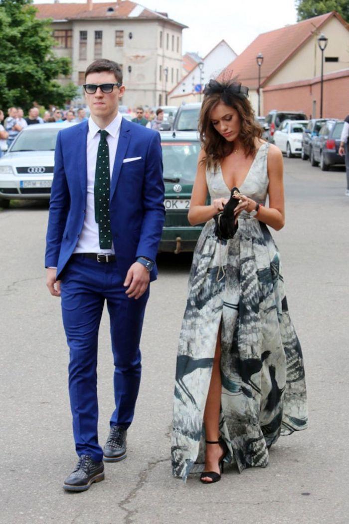 Couple bien habillé, femme robe HM élégante, robe blanche et gris cocktail, robe champetre chic, femme bien habillée