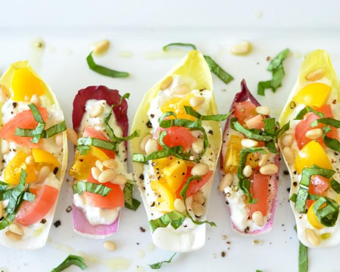 recette apéro dinatoire facile sans cuisson, endives, tomates, laitue, fromage blanc, poivre noir