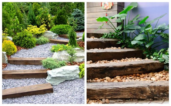 creation jardin japonais, pas de bois dans le jardin, gravier décoratif, végétation verte