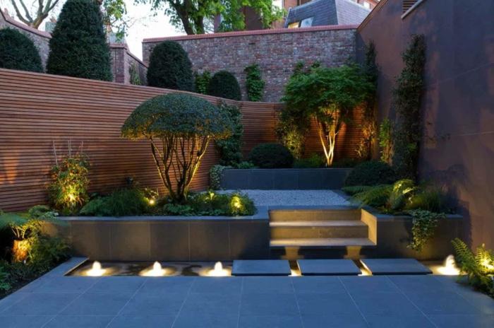amenagement jardin paysager, fontaines de piscine, terrasse en dalles béton, bonsais, mur en bois, espace paysager terrasse et jardin
