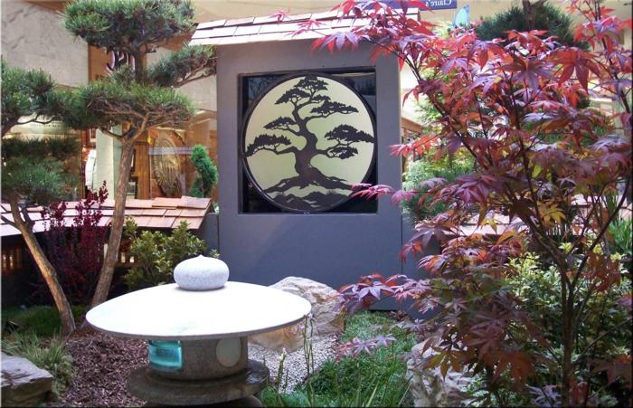 jardin japonais, lanterne japonaise, tableau illustration symbolique, érable japonais, petit cèdre