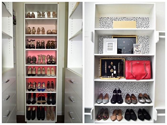 armoire a chaussure personnalisée avec du papier peint, rangement pour chaussures dans un petit dressing ou une chambre à coucher