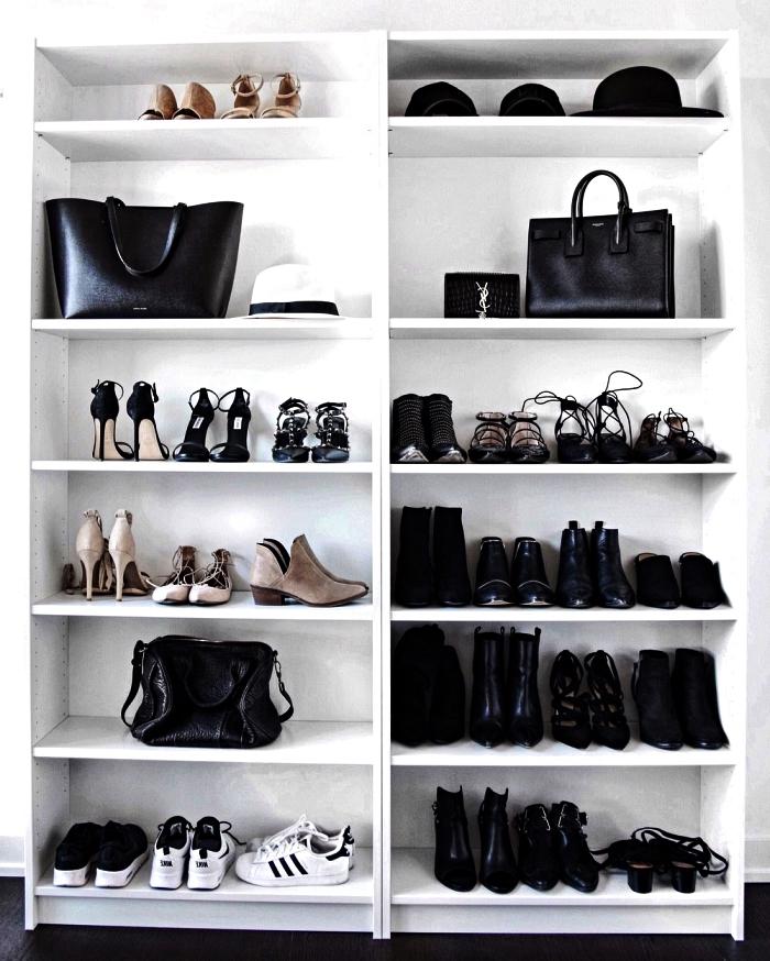 astuces rangement avec meuble chaussures ikea, bibliothèque billy détournée en meuble à chaussures fonctionnel