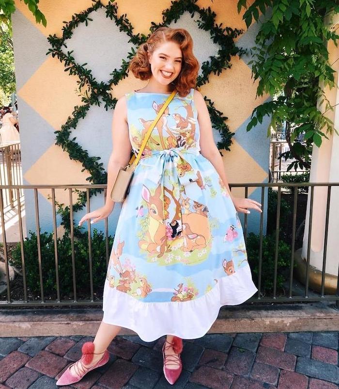 look retro choc mignon vintage, robe imrpié bambi la biche, robe femme ronde originale pour une soirée ginguette