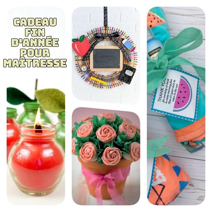 cadeau maitresse personnalisé, pot de fleur rempli de cupcakes, bougie parfum pomme, couronne de fournitures scolaires, serviette de plage et crème solaire