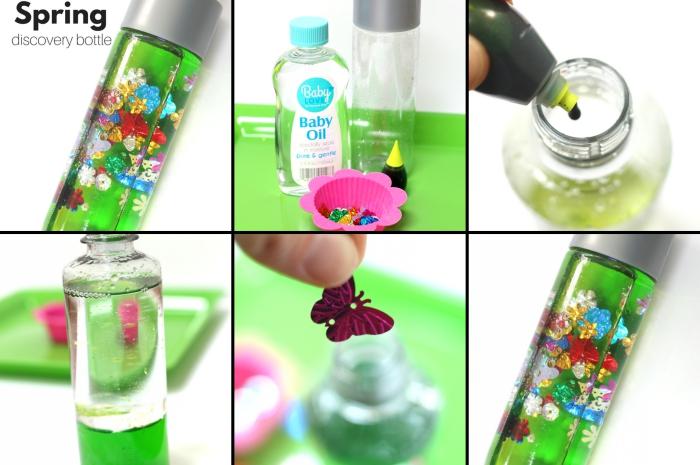 avec quoi remplir une bouteille sensorielle, tutoriel pour créer un jouet bébé facile et calmant, bouteille remplie d'eau et d'huile bébé