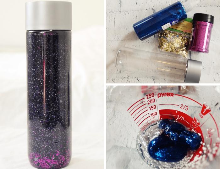 remplir une bouteille en verre avec peinture glitter et eau, diy jouet à effet galaxie, exemple méthode pédagogique créatif