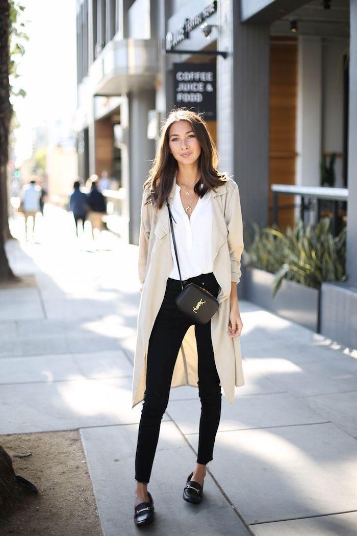 Chemise blanvhe et jean noir slim, style casual, tendance été 2019, comment s'habiller bien