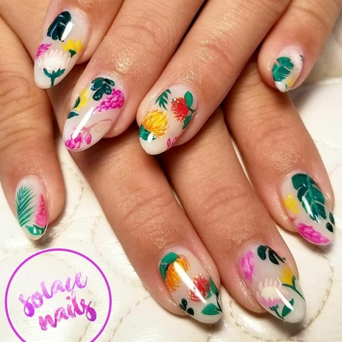 deco ongle ete, manucure design tropical, dessin sur ongle fruits et feuilles exotiques