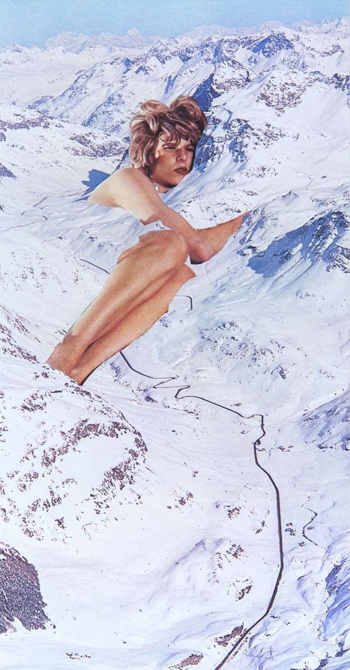 Femme au lit photo double exposition avec photo de montagne et la neige, photo swag, image swag pour fond d'écran original