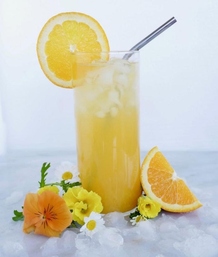 idée boisson detox facile à faire, comment préparer un thé glacé, recette thé refroidi avec glaçons et tranches d'orange