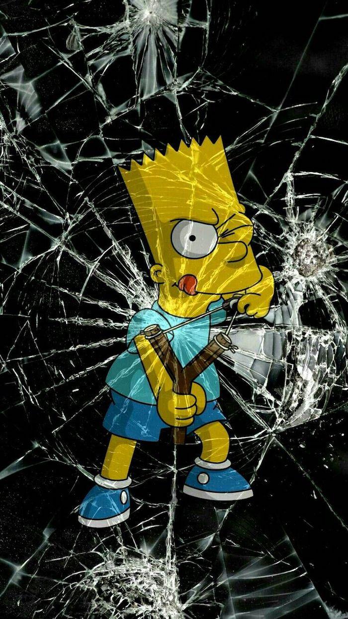 Fond d'écran animation la famille Simpson, dessin Bart Simpson parfait pour un fond d'écran iPhone