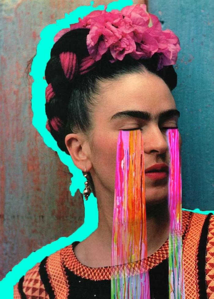 Frida Khalo coloré collage de photo de femme avec couronne de fleurs et larmes colorés