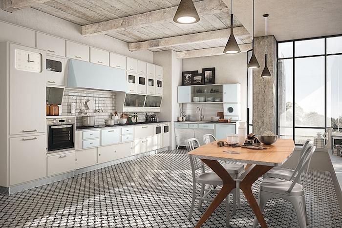 Cool idée comment adopter le style vintage dans la cuisine actuelle, deco maison de charme, cuisine vintage décoration traditionnelle
