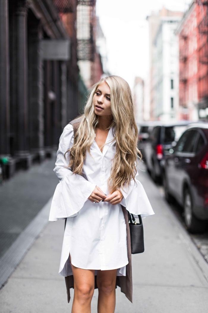 modèle de robe chemise courte femme aux manches à effet, idée quelles couleurs associer avec une robe blanche