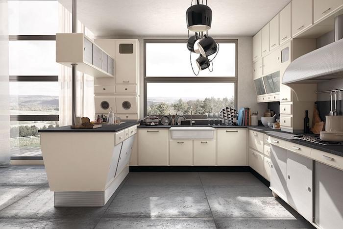 Deco vintage, cuisine bois et noir, photo de la cuisine parfaite en blanc, sol industriel style gris, originale lustre