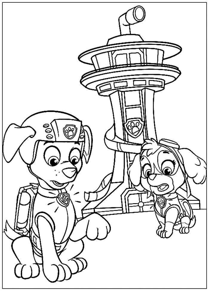 coloriages de la pat patrouille à imprimer gratuitement, dessin gratuit à colorier les chiens de la pat patrouille en alerte