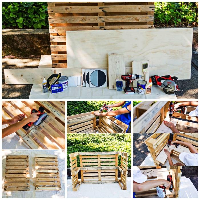 fabriquer un bar en palettes pour aménager un coin détente au bord de la piscine, comment construire facilement un bar avec palettes