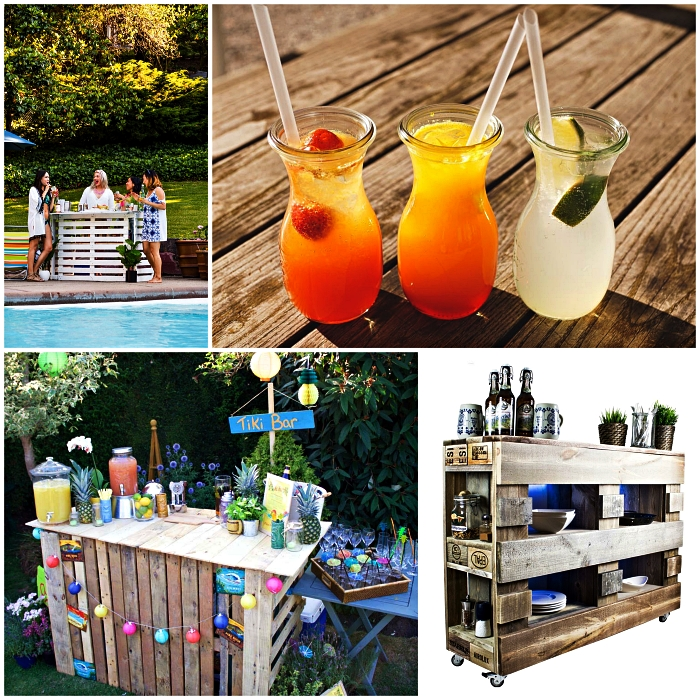 idée bricolage bois de palette pour le jardin ou la terrasse, bar de jardin en palettes récup