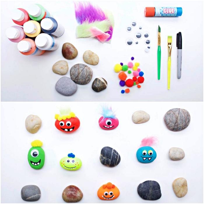 activité manuelle enfant, que faire pendant les vacances, décorer des galets monstres avec de la peinture et des pompons