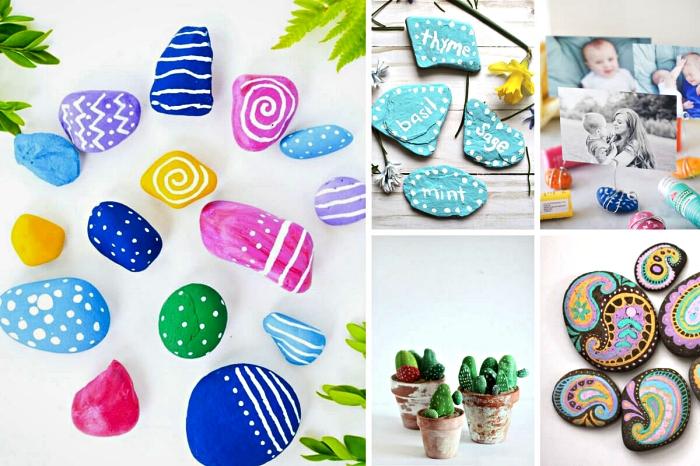 idées créatives de peinture sur galet, idées de cadeaux pour la fête des mères avec galets décoratifs peints à la main,