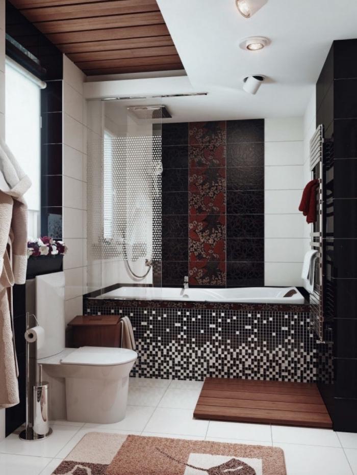 design intérieur contemporain avec éléments de style ethnique, modèle petite salle de bain en noir et blanc avec bois
