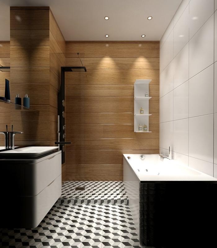 modèle salle de bain aux murs effet bois avec plafond blanc, idée agencement salle de bain avec baignoire blanc et noir