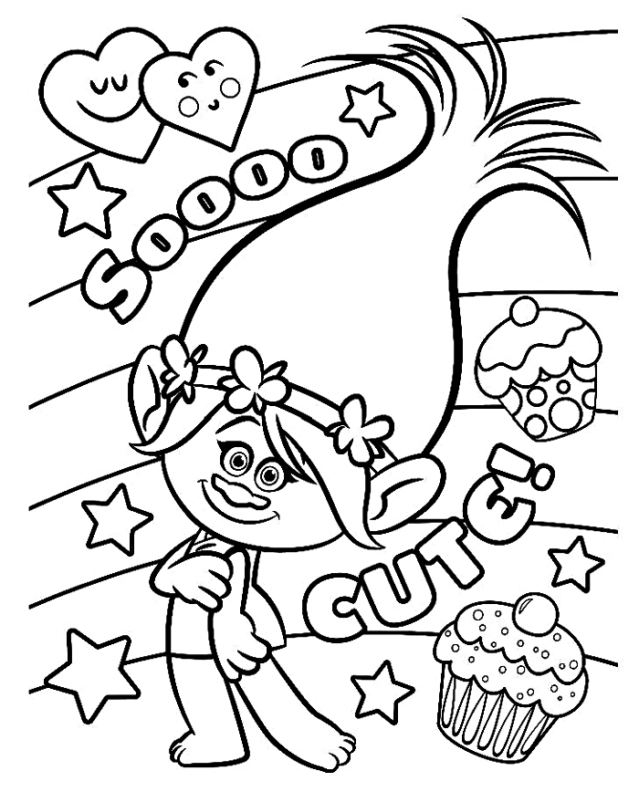 page à colorier gratuite les trolls, dessin a colorier gratuit pour enfants princesse poppy et cupcakes