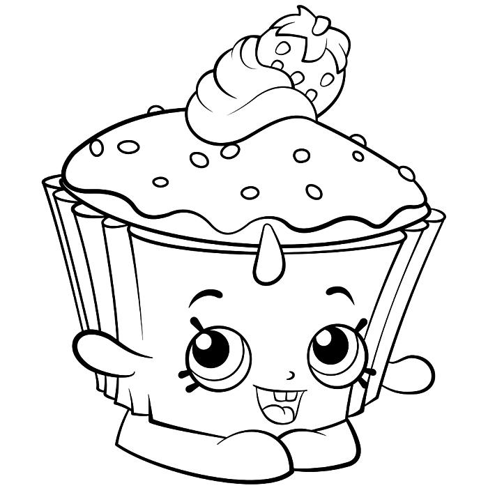 coloriage pour enfant cupcake mignon décoré d'une fraise, image à imprimer et à colorier personnage kawaii