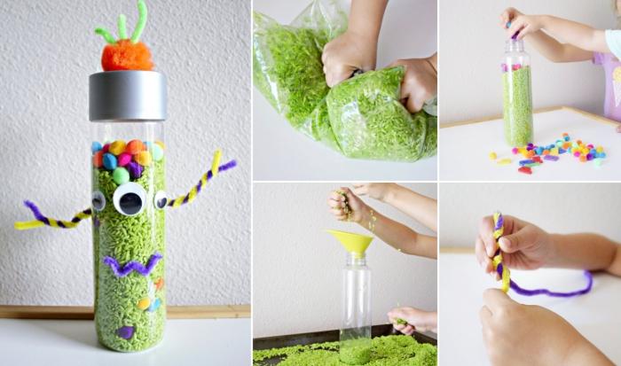 exemple avec quoi remplir les bouteilles sensorielles, modèle de bouteille personnalisée avec riz et petits pompons