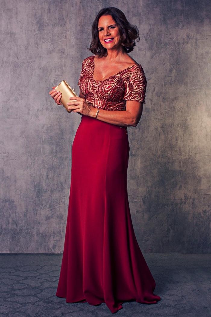 robe de cérémonie rouge longue et formelle avec haut à broderie de pierrerie, robe de soirée pour mariage de style formel