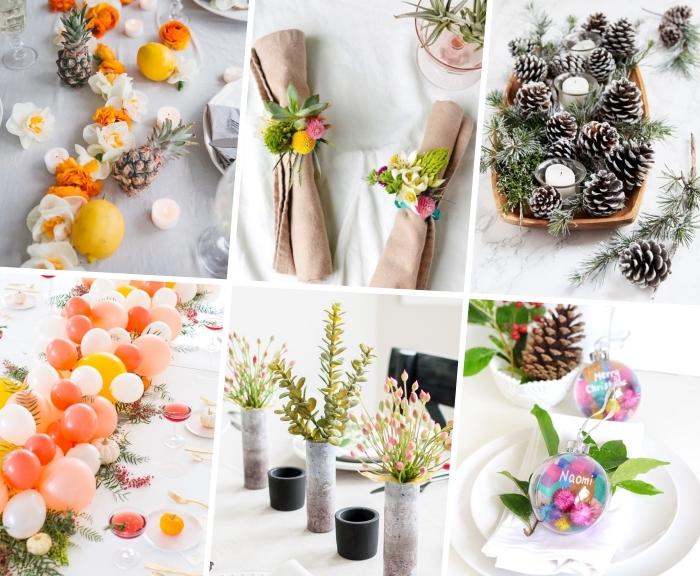 centre de table à fabriquer, guirlande de fleurs, pommes de pin décorées à l'aérosol, ronds de serviettes, ballons
