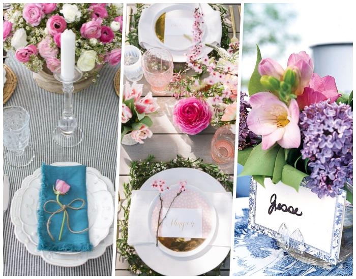assiettes blanches, bougeoir en verre, bougie blanche, serviette bleue, porte noms et déco florale, décoration table mariage