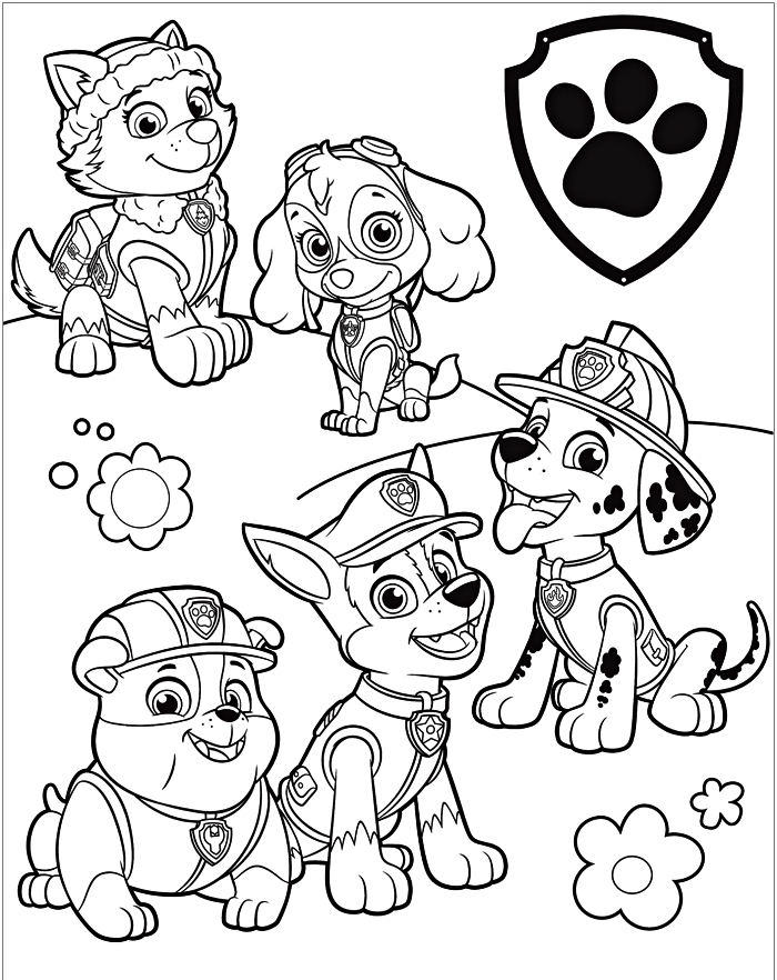 coloriages gratuits de la pat patrouille, dessin à colorier avec les personnages de la pat patrouille