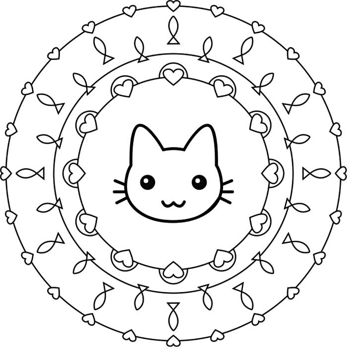 coloriage maternelle à dessin mandala facile, activité de coloriage mandala pour enfants, dessin mandala à colorier à motifs coeurs, poissons et chat kawaii
