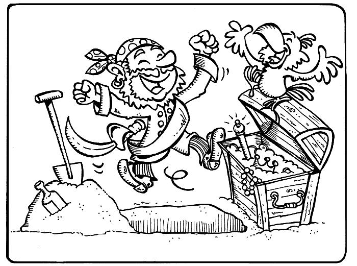 coloriage en ligne pour enfants, dessin à imprimer pour coloriage pirate et chasse au trésor