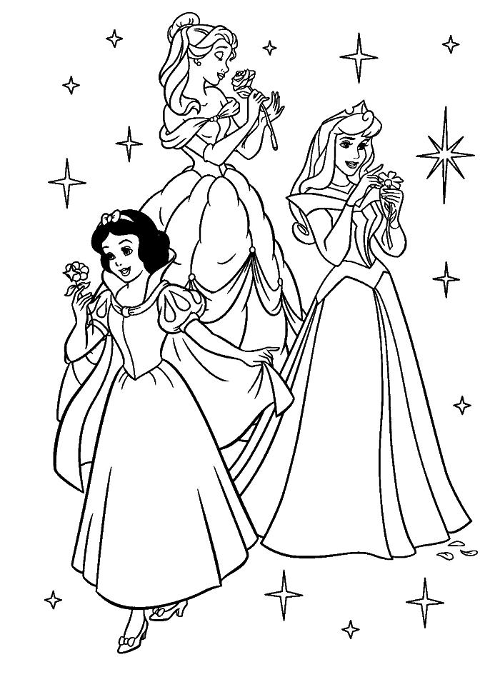 dessin a colorier disney avec belle, blanche neige et la belle au bois dormant, coloriage pour fille princesses disney