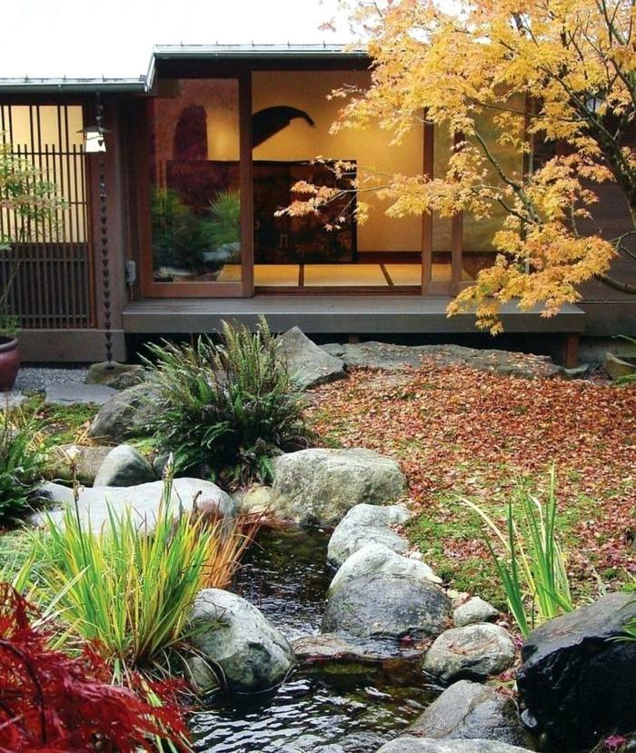 jardin japonais, pierres naturelles, maison style japonais, deco jardin contemporain, amenager son jardin japonais