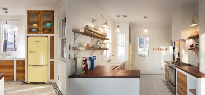 Deux angles de la meme cuisine, comment aménager la cuisine vintage, réfrigérateur smeg jaune, déco année 50, objet deco cuisine, décoration vintage